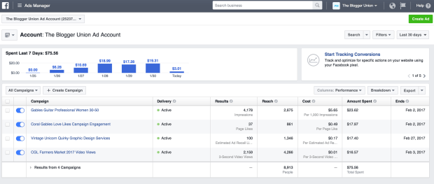 Facebook Ads Dashboard Example