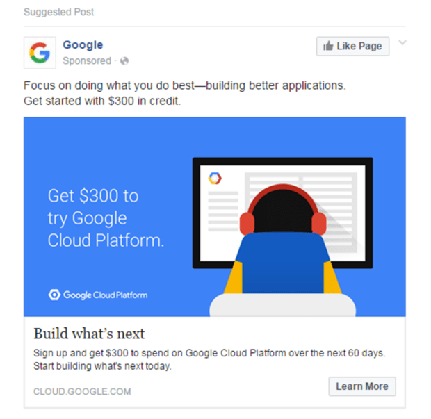 Facebook Ads Google Like Page Example