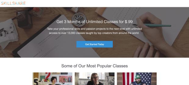 Facebook Ads Skillshare Landing Page Example
