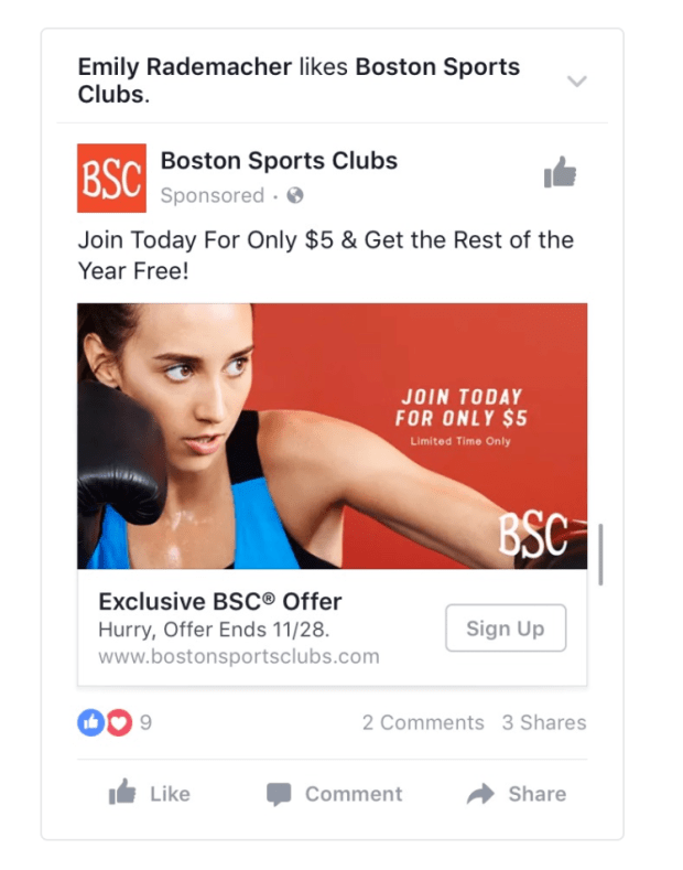 Facebook Ads Sport Sign Up CTA Example