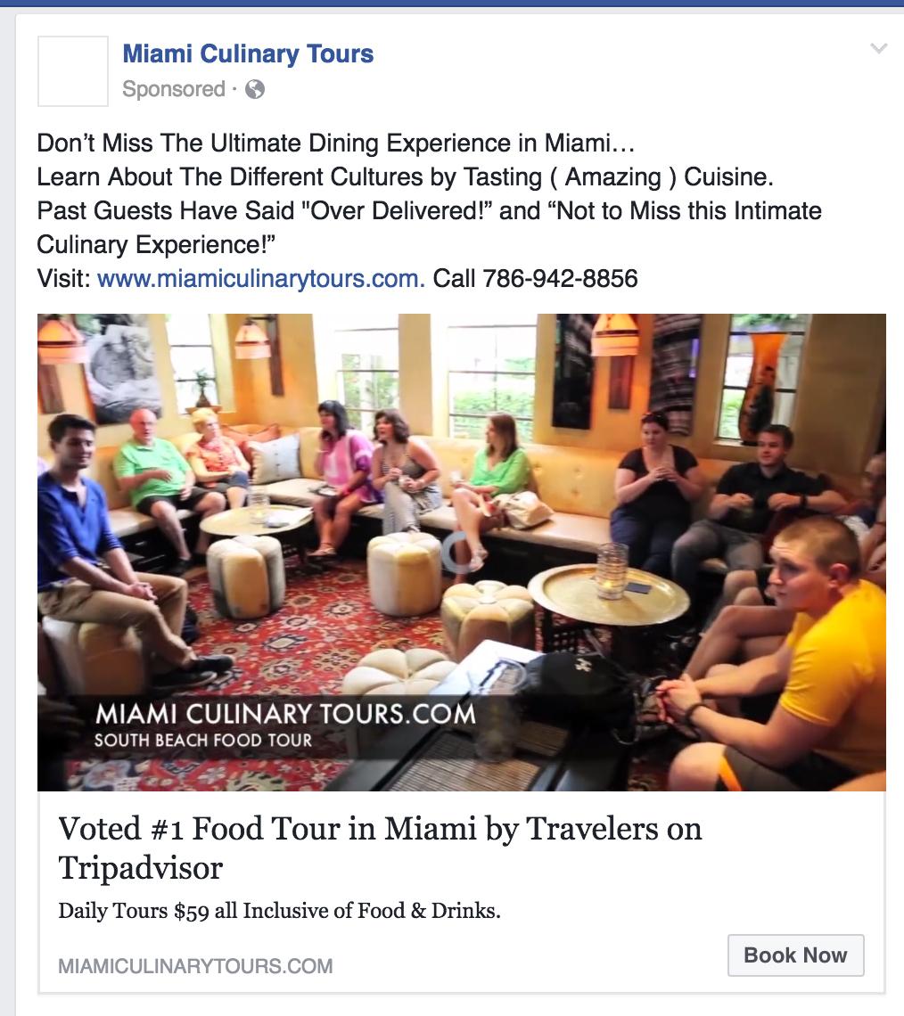 Facebook Ads Book Now CTA Example