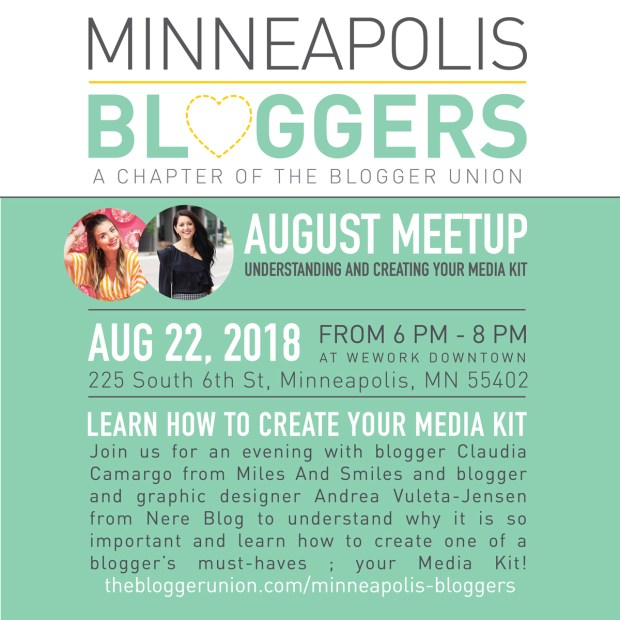 Minneapolis Bloggers August Meetup is all about Media Kits! Don't miss it!