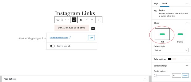 How to create a linktree with WordPress: customizing button fill options