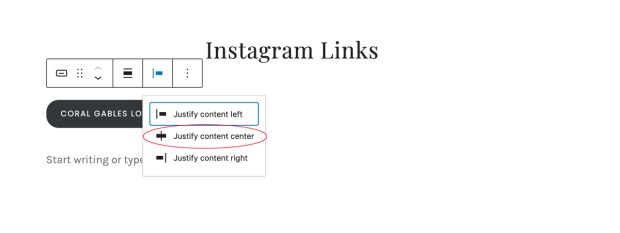 How to create a linktree with WordPress: center align buttons on page