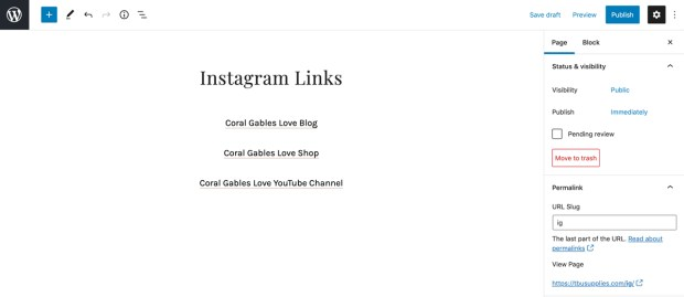 How to create a linktree with WordPress: text links instagram landing page