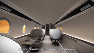 In flight screens with transitions for round window partitions