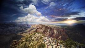 Day To Night, Grand Canyon National Park. This image is one of a series featured in the January issue of National Geographic that I created to commemorate the 100th anniversary of the National Park Service. While other images from the series have proven to be quite challenging, this image was made even more complicated by sheer logistics. How would I create an image that showed one of the most photographed places in the world in a completely unique way? My goal was to create an image that showed the majesty and vastness of the Grand Canyon, incorporating a human scale and narrative within the scene. I photographed from the top of the Desert View Watchtower at the South Rim, where my team and I worked for 27 hours scanning this amazing vista for all the unique moments from Day to Night™. Today, the image can be found at Bryce Wolkowitz Gallery in NYC or in the January issue of National Geographic. To read the accompanying story on the 100th Anniversary of the National Park Service. © Stephen Wilkes