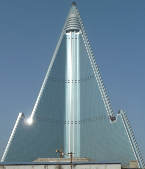 Although the Ryugyong Hotel looks complete, much of the interior is still abandoned and empty. Courtesy Sobify