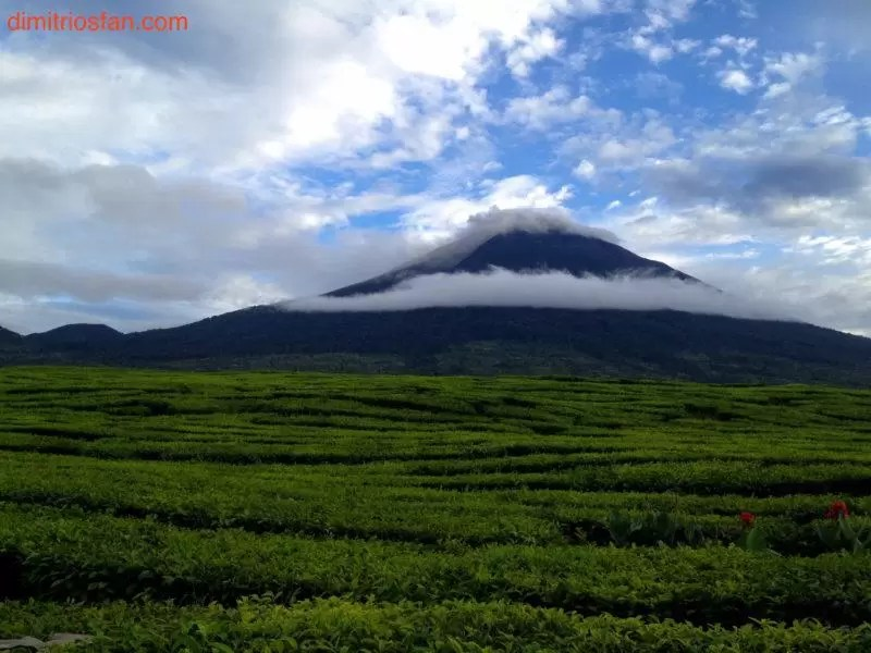 beautiful view of mount kerinci from kersik tua