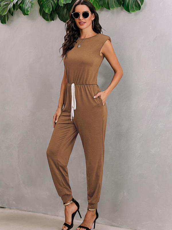 shestar wholesale v-back tie waist solid shoulder pad tank jumpsuit