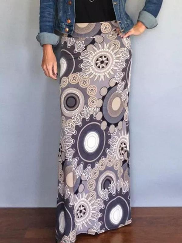 shestar wholesale boho colorblock graphic long skirt