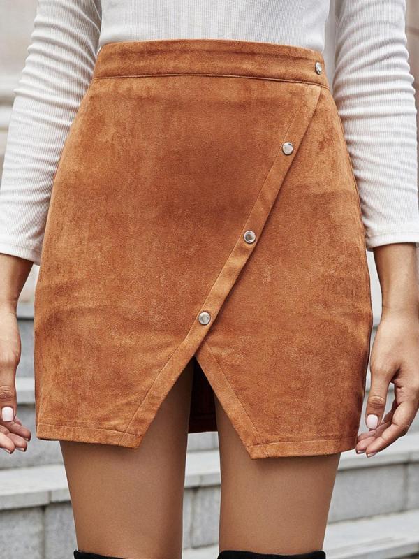 shestar wholesale high waist irregular button trim skirt