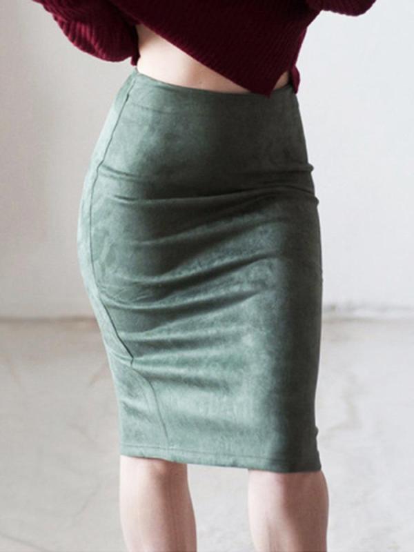 shestar wholesale split back plain suede skirt