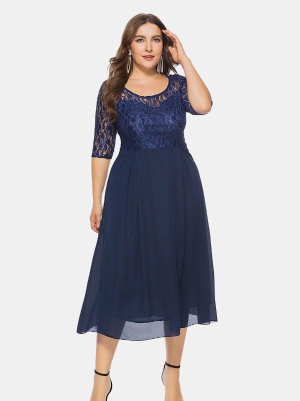 Plus Size Lace Stitching Prom Dress