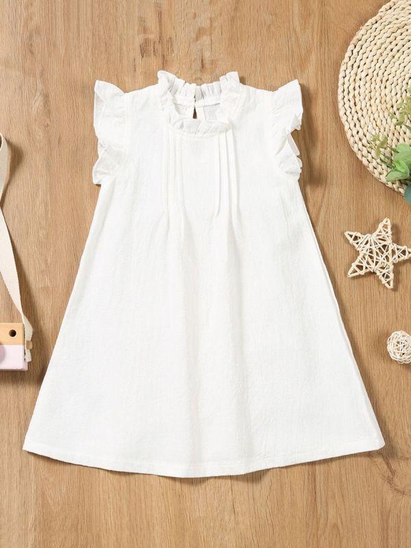 Little Girl Summer Flutter Sleeve Ruffle Trim Dress