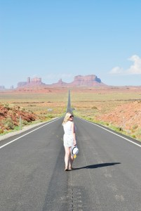 walking in monument valley