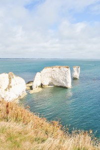 Jurassic Coast Dorset coastline with beach at Old Harry Rocks