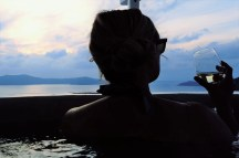 Watching sunset in the private jacuzzi on the balcony.
