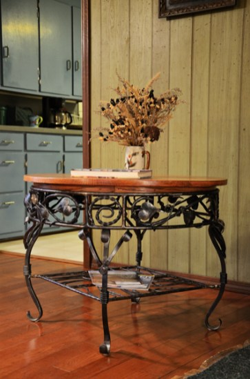 Picture of ironwork and oak table created by Jim Davis.