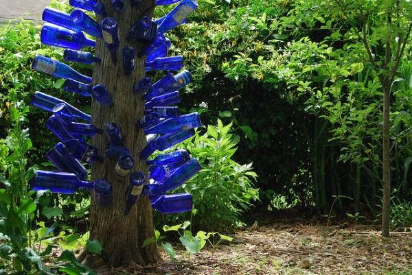 Blue bottle tree in my back yard by The Blue Bottle Tree.