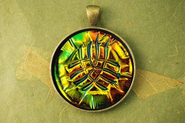 Pendant made from polymer clay using the Holographic Effect Technique.