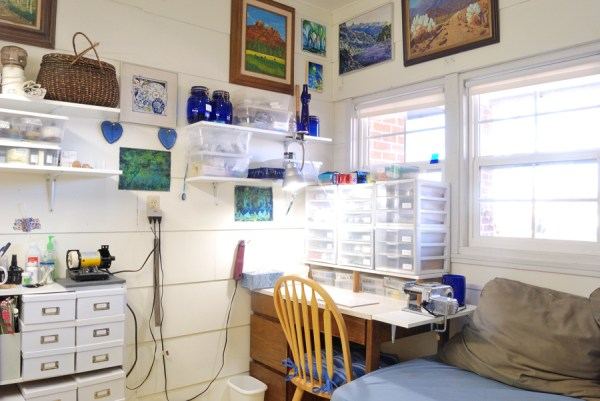My polymer clay work table in my studio at The Blue Bottle Tree.