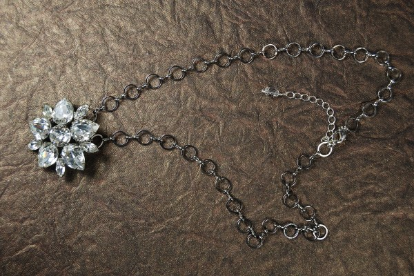 Vintage brooch converted to a necklace, showing full view.