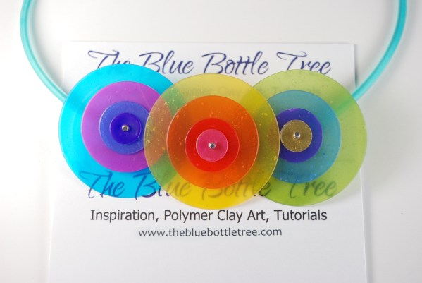 Created with Pardo Professional Art Clay, this necklace shows how you can create designs that take advantage of the translucent properties and the clarity of color. www.thebluebottletree.com