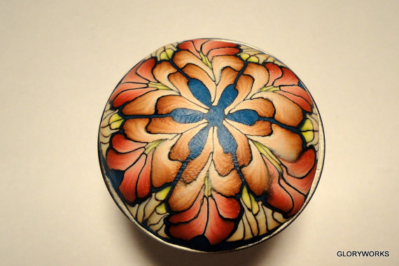 polymer clay millefiori canework covered cabinet knob by gloryworks