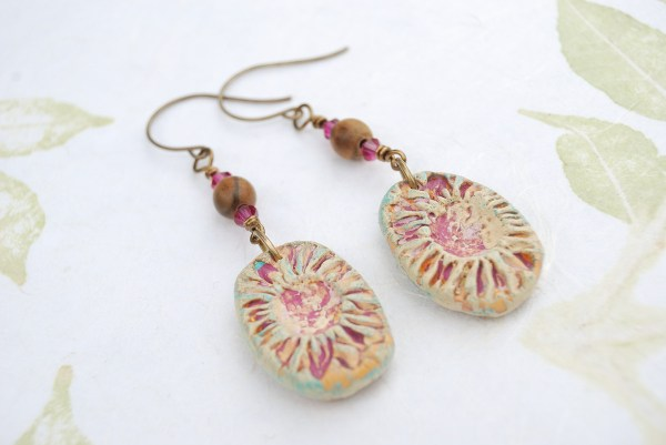 Rustic sunflower earrings made with polymer clay by The Blue Bottle Tree