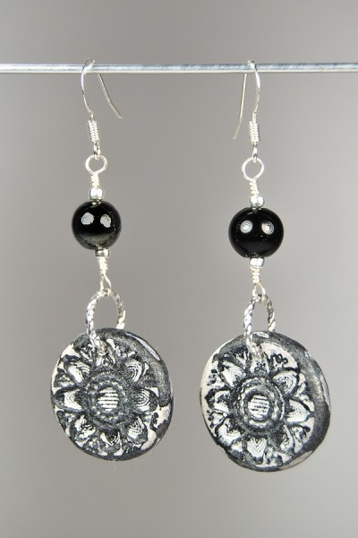 Silvia's black and grey Rustic Earrings