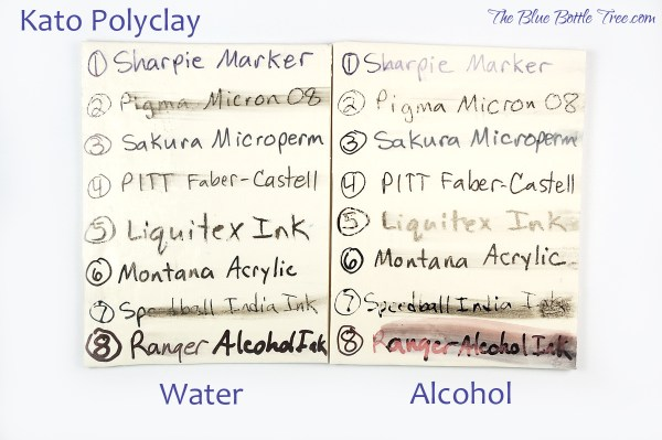 Comparison of water and alcohol resistance of black inks on Kato Polyclay by The Blue Bottle Tree.
