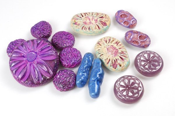 Polymer clay beads made by Ginger Davis Allman for Bead Soup Blog Party #8.