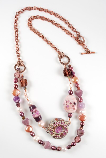 Pink and copper beaded necklace for Bead Soup Blog Party