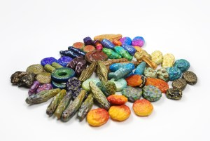 These colorful organic beads were made from polymer clay by Ginger Davis Allman of The Blue Bottle Tree using her tutorial.