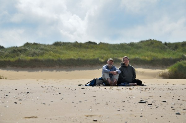Gary and Ginger on the beach near Horsey.