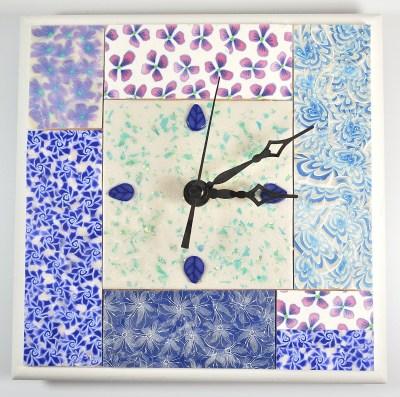 Blue flowered mosaic clock.