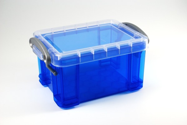 Small blue box from the Really Useful Products company. I use this to hold my DIY mini cutters.