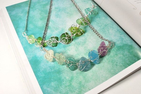 I created the glass bib necklace from Freeform Wire Art Designs using my own Faux Sea Glass made from polymer clay. I think it turned out great, just like the example in the book.