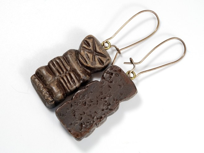 Tiki earrings have a textured back to create visual interest and hide flaws in polymer clay.