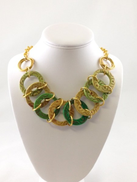 Necklace made by Chromatic Maille using polymer clay and chain maille.