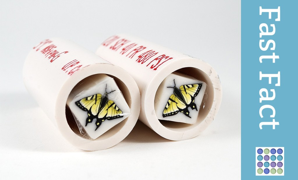 Use pieces of PVC pipe to protect polymer clay canes during mailing.