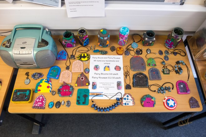 The members of the East Midlands Polymer Clay Group made these fairy doors as a group project.