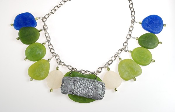 You can make polymer clay faux sea glass jewelry in any color, shape, and size.