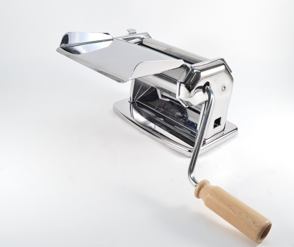 The Imperia pasta machine has a sheet feeder which can fit onto the front of the machine.