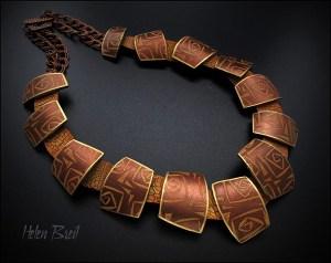 "Necklace using ""Tangled Up"" silkscreen by Helen Breil"