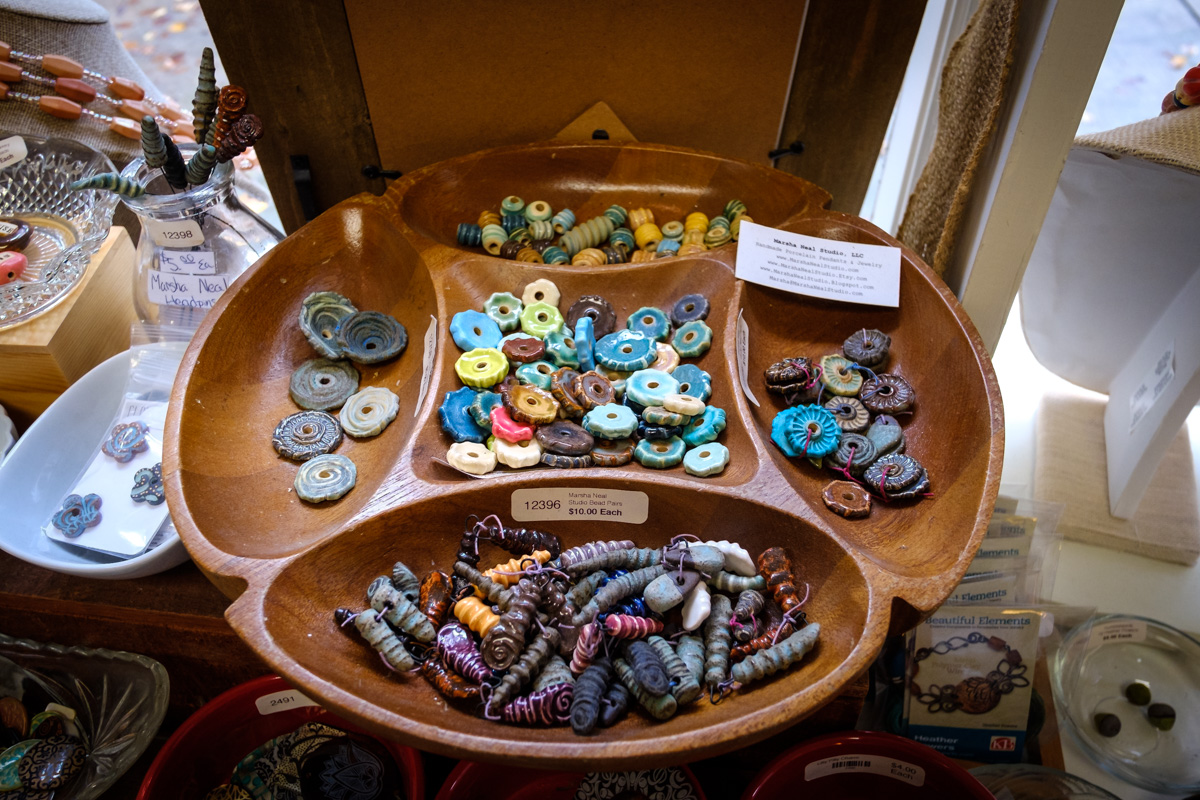 Ceramic beads by Marsha Neal Studio at Allegory Gallery in Ligonier, Pennsylvania.