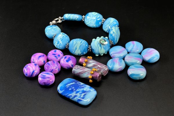Faux lampwork beads made from polymer clay