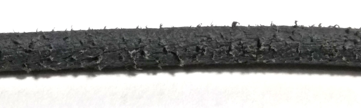 The fibers of Fimo Leather stick out of an extruded cord, making it look like suede.