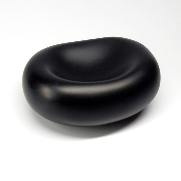Black polymer clay contemporary sculpture by Ginger Davis Allman.